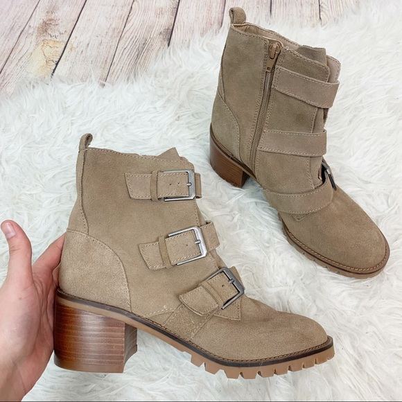 CROWN VINTAGE Suede Lug Sole Strappy Ankle Boots